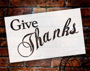 """Give Thanks Stencil - 14"""" x 8 1/2"""" - STCL489 - by StudioR12"""