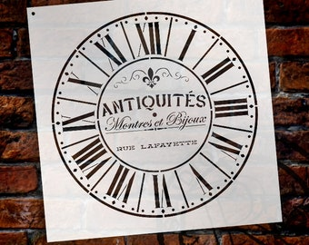 Round Clock Stencil - Parisian Roman Numerals - French Antique Words - DIY Paint Wood Clock Small to Extra Large Home Decor - SELECT SIZE