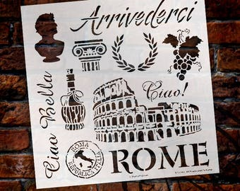 "All Roads Lead to Rome Stencil - 12"" x 12"" template - STCL549 - by StudioR12"