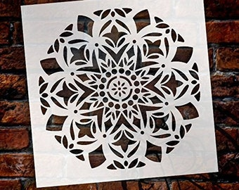 Mandala - Snow - Complete Stencil by StudioR12 | Reusable Mylar Template | Use to Paint Wood Signs - Pallets - Pillows - Wall Art - Floor...