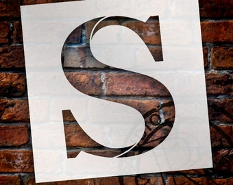 S -Monogram Letter Stencil - Select Size - STCL1732 - by StudioR12