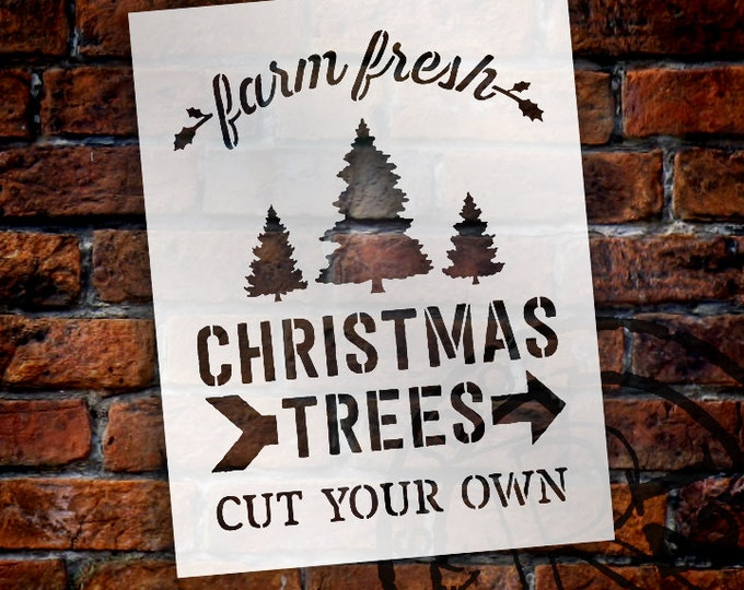 Featured listing image: Farm Fresh Christmas Trees - Word Art Stencil - Select Size - STCL1539 - by StudioR12