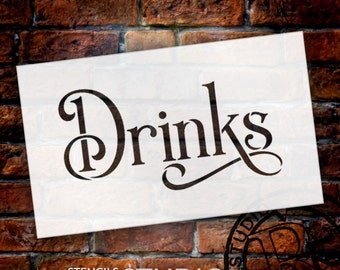 Wedding Sign Stencil - Drinks - Elegant Traditional - Select Size- STCL1742 - by StudioR12