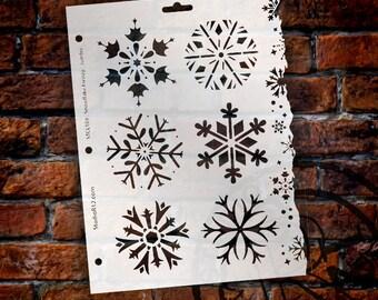 Snowflake Stencil by StudioR12 - Christmas, Holiday, Santa, Painting, Journaling, Window, Mixed Media, Air Brush, Chalk,  Large -SKU:STCL108