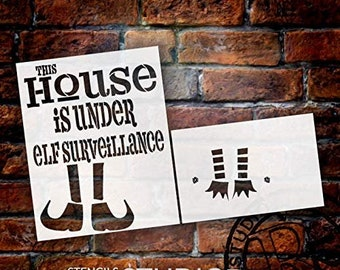 This House is Under Elf Surveillance Stencil - 2 Part by StudioR12 | Reusable Mylar Template | Use to Paint Wood Signs - Pallets - DIY...