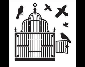 "Art Stencil - Victorian Birdcage with Birds - 10"" x 10"" -  STCL750 - by StudioR12"