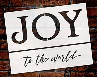 Joy to The World Stencil - 2 Part - by StudioR12 | Reusable Mylar Template | Use to Paint Wood Signs - Walls - Pillows - DIY Home...
