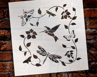 Hummingbird Garden - Art Stencil - Select Size - STCL1676 - by StudioR12