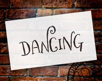 Wedding Sign Stencil - Dancing - Fancy Funky - Select Size- STCL1641 - by StudioR12