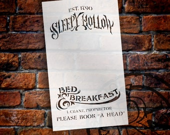 "Sleepy Hollow B&B Word Art Stencil - 7""X12""- STCL808_1 - by StudioR12"