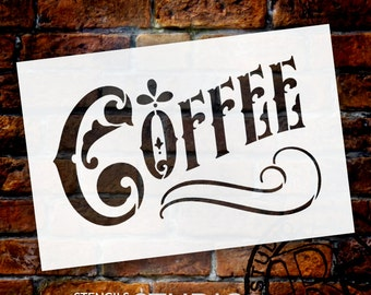 Coffee Word Art Stencil - Victorian Headline - Select Size - STCL837