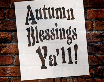 "Autumn Blessings Yall! - Word Stencil - 6"" x 7"" - STCL1402 - by StudioR12"