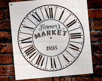 Round Clock Stencil - Parisian Roman Numerals - Farmers Market Words -  Small to Extra Large DIY Painting on Wood Home Decor - SELECT SIZE