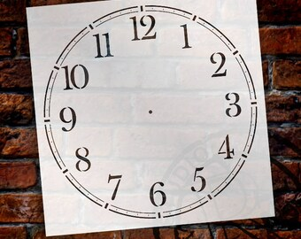 School House Clock Face Stencil by StudioR12 - For DIY Painting Wood Clocks Small to Extra Large Farmhouse Country Home Decor - SELECT SIZE