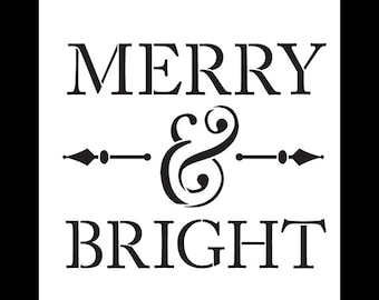Merry and Bright - Word Stencil - Select Size - STCL1139 - by StudioR12