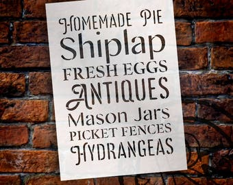 Homemade Pie - Antiques - Hydrangeas - Word Stencil - Select Size - STCL2181 - by StudioR12