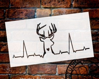 Deer Hunting Heartbeat Stencil by StudioR12 | Reusable Mylar Template | Use to Paint Wood Signs - DIY Hunter Decor - SELECT SIZE