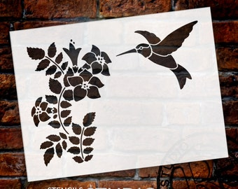 Hummingbird & Flowers - Art Stencil - Select Size - STCL1670 - by StudioR12