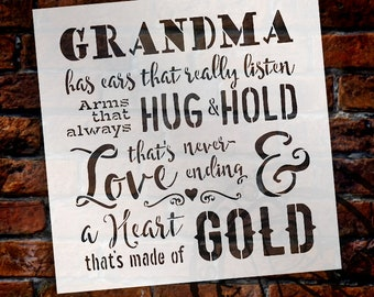 Grandma - A Heart That's Made of Gold Stencil by StudioR12 | Reusable Mylar Template | Use to Paint Wood Signs - DIY Family - SELECT SIZE