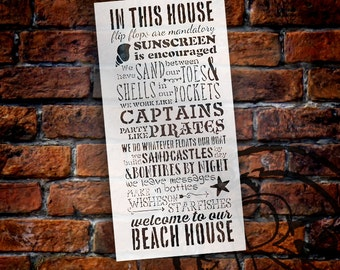 Welcome To Our Beach House Stencil - Select Size - STCL1014 by StudioR12