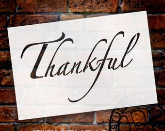 Thankful - Elegant Script - Word Stencil - Select Size - STCL2099 - by StudioR12