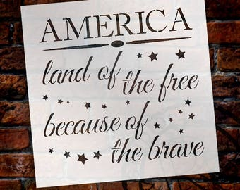 "America - Land of The Free Because of the Brave - Word Art Stencil - Select Size"" - STCL1233 by StudioR12"