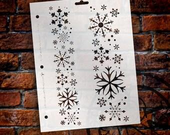 "Snowflake Stencil by StudioR12 - Borders, Christmas, Holiday, Santa, Painting, Air Brush, Window, Mixed Media, Chalk-8 1/2""X 11""-SKU:STCL112"