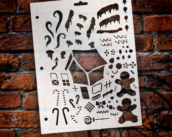 "Gingerbread House Stencil- 8 1/2"" X 11""-SKU:STCL131"