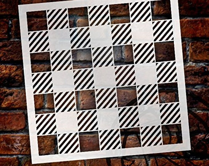 Featured listing image: Buffalo Plaid Checks Pattern Stencil - Choose Size
