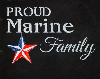 Proud Marine Family - Word Art Stencil - Select Size - STCL1242 by StudioR12