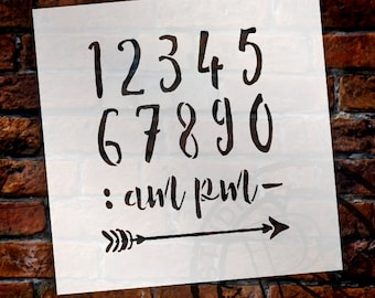 Wedding Sign Number Stencil - Numeral & Embellishment - Rustic Script - Select Size- STCL1609 - by StudioR12