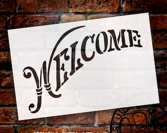"""Welcome Word Stencil - Elegant Country Arched - 14"""" X 9"""" -SKU:STCL781"""
