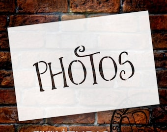 Wedding Sign Stencil - Photos - Fancy Funky - Select Size- STCL1637 - by StudioR12