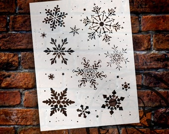 "North Pole Snowflake Stencil by StudioR12 - Christmas, Holiday, Santa, Painting, Art, Sign, Window, Mixed Media, Chalk- 8.5"" x 11"" - STCL518"