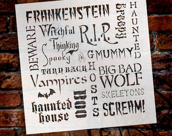 "Background Words Stencil - Haunted - 11"" x 11"" - STCL546 by StudioR12"