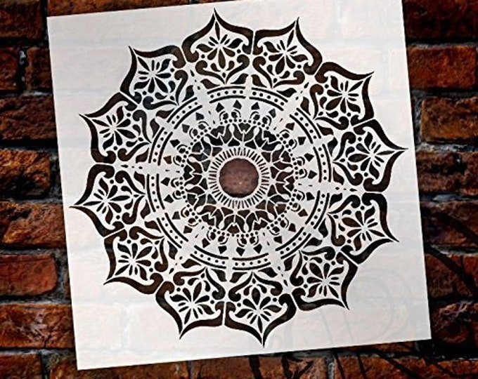 Featured listing image: Mandala - India Stencil by StudioR12   Reusable Mylar Template   Use to Paint Wood Signs - Pallets - Pillows - Wall Art - Floor Tile -...