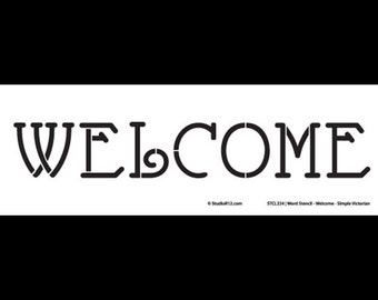 """Welcome-Simple Victorian-Word Stencil-16"""" X 4""""-SKU: STCL224"""