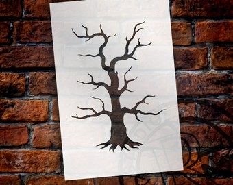 "Spooky Hollow Tree - Halloween Art Stencil - 4"" x 6"" - STCL742 - by StudioR12"