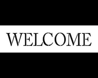 Welcome -Skinny Traditional- Horizontal - Word Stencil -  Select Size - STCL1177 - by StudioR12
