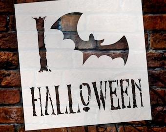 """I Love Halloween - Bat - Word Art Stencil - 8"""" x  8"""" - STCL1279_2 by StudioR12"""