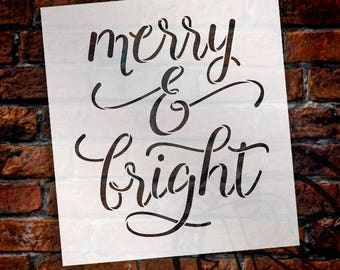 Merry & Bright - Elegant Hand - Word Stencil - Select Size - STCL2003 - by StudioR12