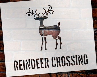 "Reindeer Crossing Word Art Stencil - 9"" X 11"" - STCL993 by StudioR12"