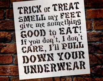"Trick or Treat, Smell My Feet - Poem - Word Stencil - 9"" x 12 "" - STCL1283_1 by StudioR12"