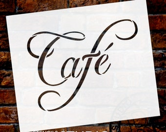 "Cafe Word Art Stencil-Swish Script - 6"" X 5"" - SKU:STCL822_1"