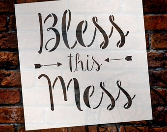 Bless This Mess Stencil by StudioR12 | Reusable Mylar Template | Use to Paint Wood Signs - Pallets - DIY Trendy Decor - SELECT SIZE