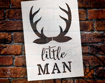 Little Man - Antlers - Word Art Stencil - Select Size - STCL1757 - by StudioR12