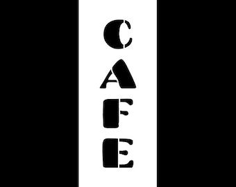 Cafe Word Art Stencil - Chunky Retro - Select Size - SKU: STCL821