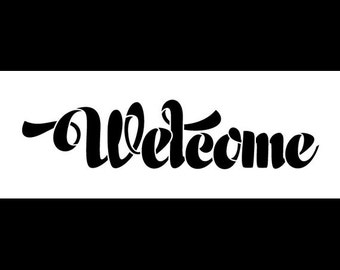 Welcome Word Stencil - Retro Chunky Script - Select Size - STCL1008 by StudioR12