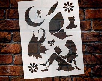 "Reading Fairy Art Stencil - 8.5"" x 11"" - STCL883_1 - by StudioR12"