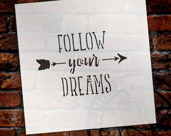 Follow Your Dreams Stencil for Painting Wood by StudioR12 | Reusable Mylar Template | Easy to Paint Perfect Lettering on Signs -Fabric...
